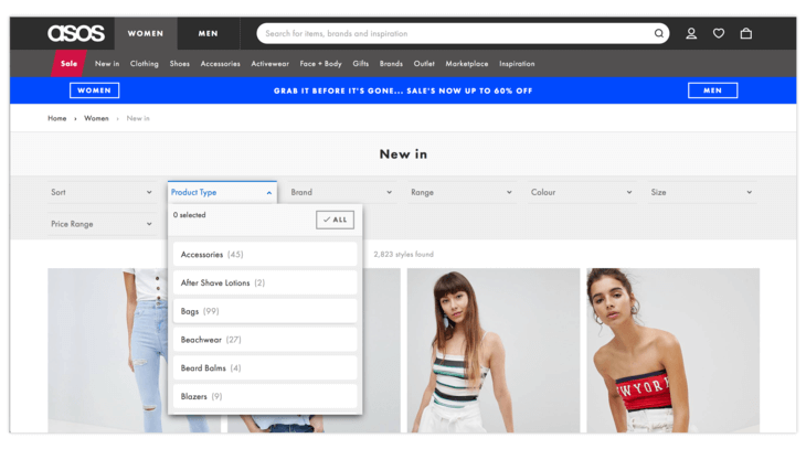 Horizontal filter in Ecommerce