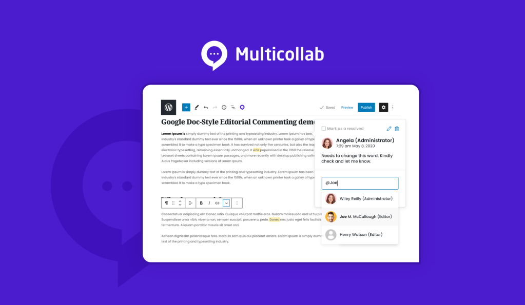 Multicollab: Google Doc-Style Editorial Commenting Plugin for WordPress